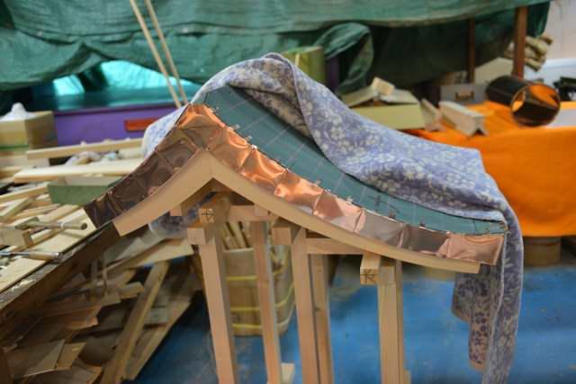 稲荷宮7寸屋根の銅板葺軒付け