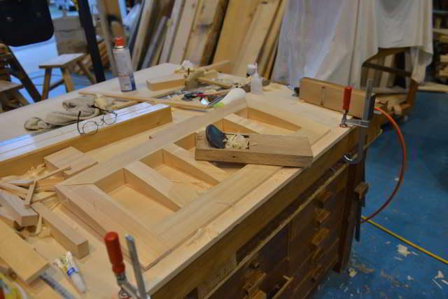 厚屋根一社宮正殿型の屋根骨組み製作